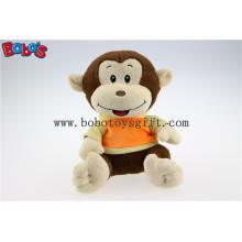Juguetes de peluche rellenos bebé mono con la cara de sonrisa bordado y la camiseta Bos1179
