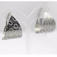 Boucle d'oreille en acier inoxydable à fleurs creuses larges en argent pour femmes