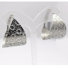 Stainless Steel Hollow Flower Wide Silver Hoop Earring For Women