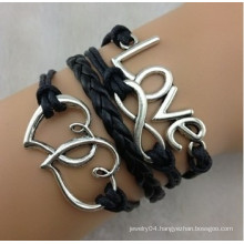 alibaba supplier,2014 fashion balck wrap leather bracelet with couple heart for couple