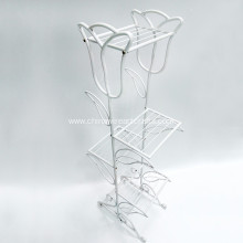 Metal White Tulip Flower Stand Garden Decor
