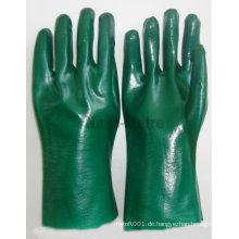 NMSAFETY grün gestrickte dünne Baumwoll-PVC-Haushaltshandschuhe