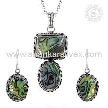 Красивые оболочки драгоценный камень серебряный комплект ювелирных изделий 925 стерлингового серебра ювелирные изделия оптом ювелирные изделия