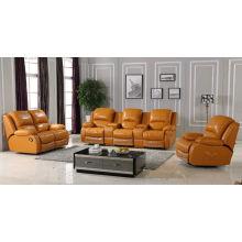Yellow Italian Genuine Leather Recliner Sofa (D1030)