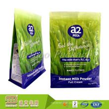 A prueba de humedad de 1 kg de tamaño personalizado logotipo impreso lateral escudete leche en polvo / bolsas de envasado de harina con cremallera