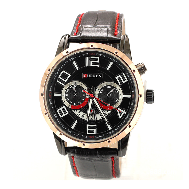 Fashion sport style leather band quartz watch