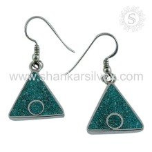 Charming Fashion Jewelry 925 Silver Inlay Gemstone Earring Wholesaler Silver Jewelry