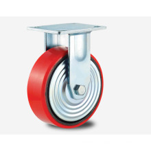 H6r Heavy Duty Type Double Ball Bearing Fixed Type PU on Aluminum Core Wheel Caster