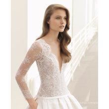 Decote em v profundo nua rendas top mangas compridas vestido de noiva