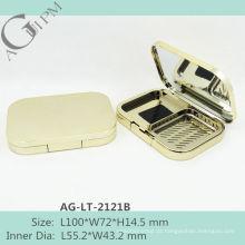 Retrô brilhando retangular estojo de pó compacto com espelho AG-LT-2121B, embalagens de cosméticos do AGPM, cores/logotipo personalizado