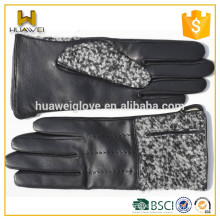 Comfortable Design Winter Ladies Wool Gloves with Sheepskin Leather