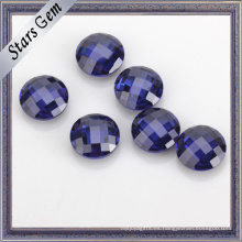 Color azul AAA Grado 5mm Ronda doble Checker corte Cubic Zirconia para joyas de oro