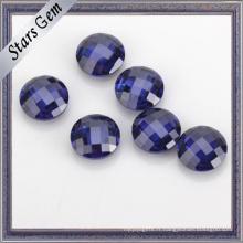 Couleur bleue AAA Grade 5mm rond double Checker Cut Cubic Zirconia pour bijoux en or