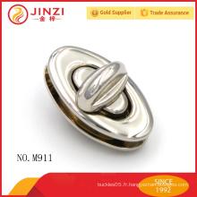 Forme ovale en forme de nickel brillant sacs à main en dames pièces de verrouillage M911