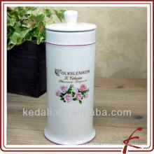 white glaze ceramic colored decal facial tissue box holder