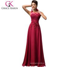 Grace Karin largo una línea de gasa sin mangas de las mujeres formales vino rojo vestido de baile abendkleider CL007555-5