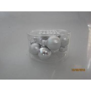 Set 12 Siliver Glass Ball for Christmas