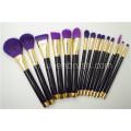 15PCS Kit de cepillo mineral del maquillaje del pelo natural de la alta calidad