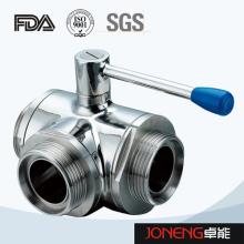 Vanne à bille sanitaire à 3 voies en acier inoxydable (JN-BLV1007)