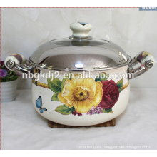 porcelain enamel casserole with big flower decal and ceramic handle