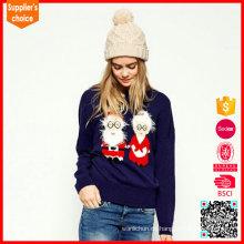 Neue Mode lange Ärmel stricken Muster lustige Weihnachten Pullover Frauen