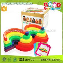 EZ1044 única forma arco iris de color de madera de juguete de los nuevos niños