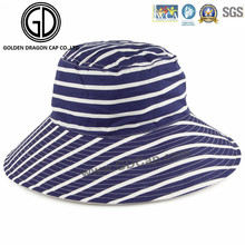 Woman′s Ladies Fashion Big Brim Reversible Horizontal Striped Bucket Hat