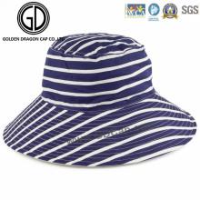Woman′s Ladies Fashion Big Brim Reversible Horizontal Striped Bucket Hat