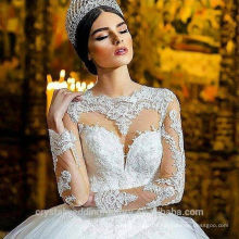 Plus Size Wedding Bridal Gowns Puffy Muslim Arabian Lace Applique Long Sleeves 2017 Wedding Dresses MWW2105