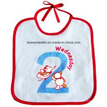 Babero blanco del bebé del bordado de la secuencia de algodón por encargo que cierra