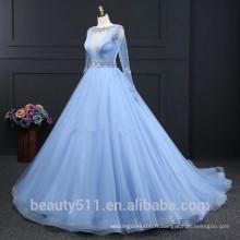 2017 Nouveau style fait sur mesure élégant A-ligne col en V à manches longues occisan soirée Robes de soirée robe de quinceanera ED612