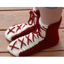 Red & White Crochet Lace Up Bed Socks