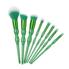 8 Piece Green Curvy Handle Makeup Brush Kit