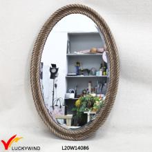 Antike Vintage Brown Ovalen Holzspiegel mit Seil