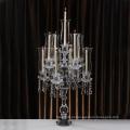 Castiçal de vidro do castiçal de cristal de 3 braços para a decoração home do partido