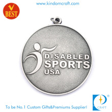 High Quality Customized 2D Sandblasted USA Disable Sports Medal with Silver Plating