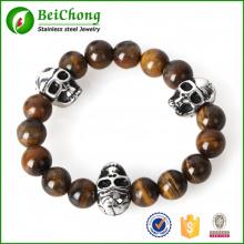 Mode Vintage Mann NorthSkull Bead Schmuck 12mm Buddha Bead Gold Edelstahl Schädel Elastische Armbänder Armreifen