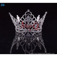 Großhandel Kristall Braut Haar Zubehör voller runde Festzug Kronen