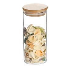 Wooden lid borosilicate airtight glass jar