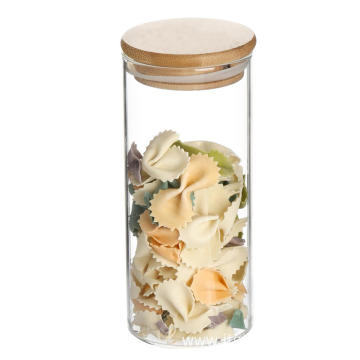 Wooden lid borosilicate airtight glass jar