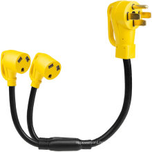 50 Amp to 30 Amp RV Y Adapter Power Cord - 14-50P Male Plug to Two TT-30R Female Electrical Receptacles, Yellow