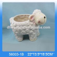 Plantador de cerámica de la flor de las ovejas precioso, plantador de cerámica animal del jardín