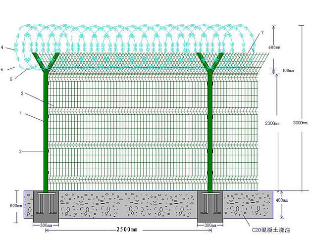 Airport Wire Mesh Fence Drawing