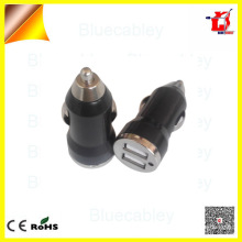 Universal 5V1A dual usb bullet car charger for mobile phone