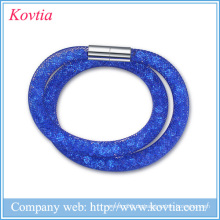 Hochwertige Mesh Double Stardust Armbänder mit Kristall Steine gefüllt Magnetische Schließe Charme Armbänder Armreifen