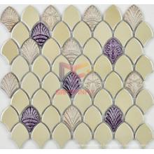 Glazed Cream Ceramic with Shell Pattern Mosaics (BK001)