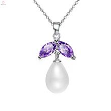 Collier pendentif perle chaîne en argent sterling à la mode