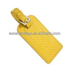 Alta qualidade tag de bagagem de couro amarelo