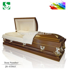 velvet lining brown finish 18 gauge metal casket