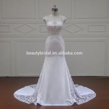 XF16081 round neckline wedding dress with luxury beading on the bust